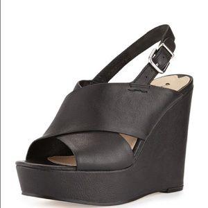 Via spiga all black leather wedge sandal.